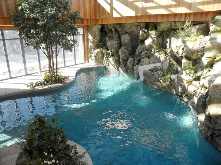 Concrete water feature pool from above